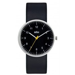 The re-issued Braun BN0021 analog watch pays tribute to the genius of German designers Dieter Rams and Dietrich Lubs, who created many of Braun's iconic products in the 20th  century. Marking a return to purity and simplicity, the BN0021 is a triumph of minimalist design. All of the elements—from its unadorned dial to the matte stainless steel casing—are stripped down to the essential. Features 3-hand quartz movement and a black leather band. Water resistant to 150 ft.