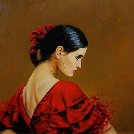flamenco (by Karol Bak) [red top] [red hair tie]