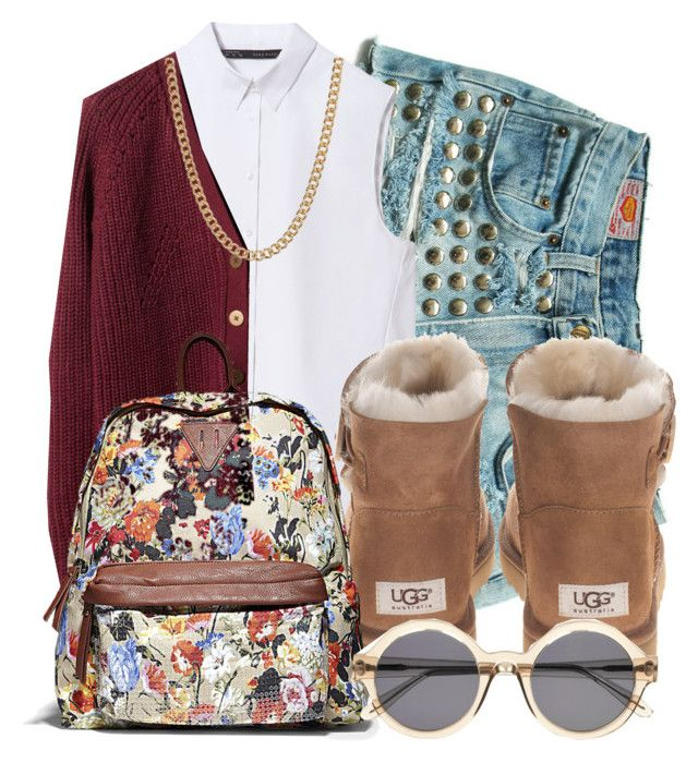 """School Flow Niqgaa!! :)"" by xmonishax ❤ liked on Polyvore featuring Zara, Pull&Bear, UGG Australia, Steve Madden, Illesteva and ASOS"