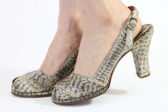 40s Snakeskin Shoes 8 / 1940s Platform Peeptoes / by CrushVintage