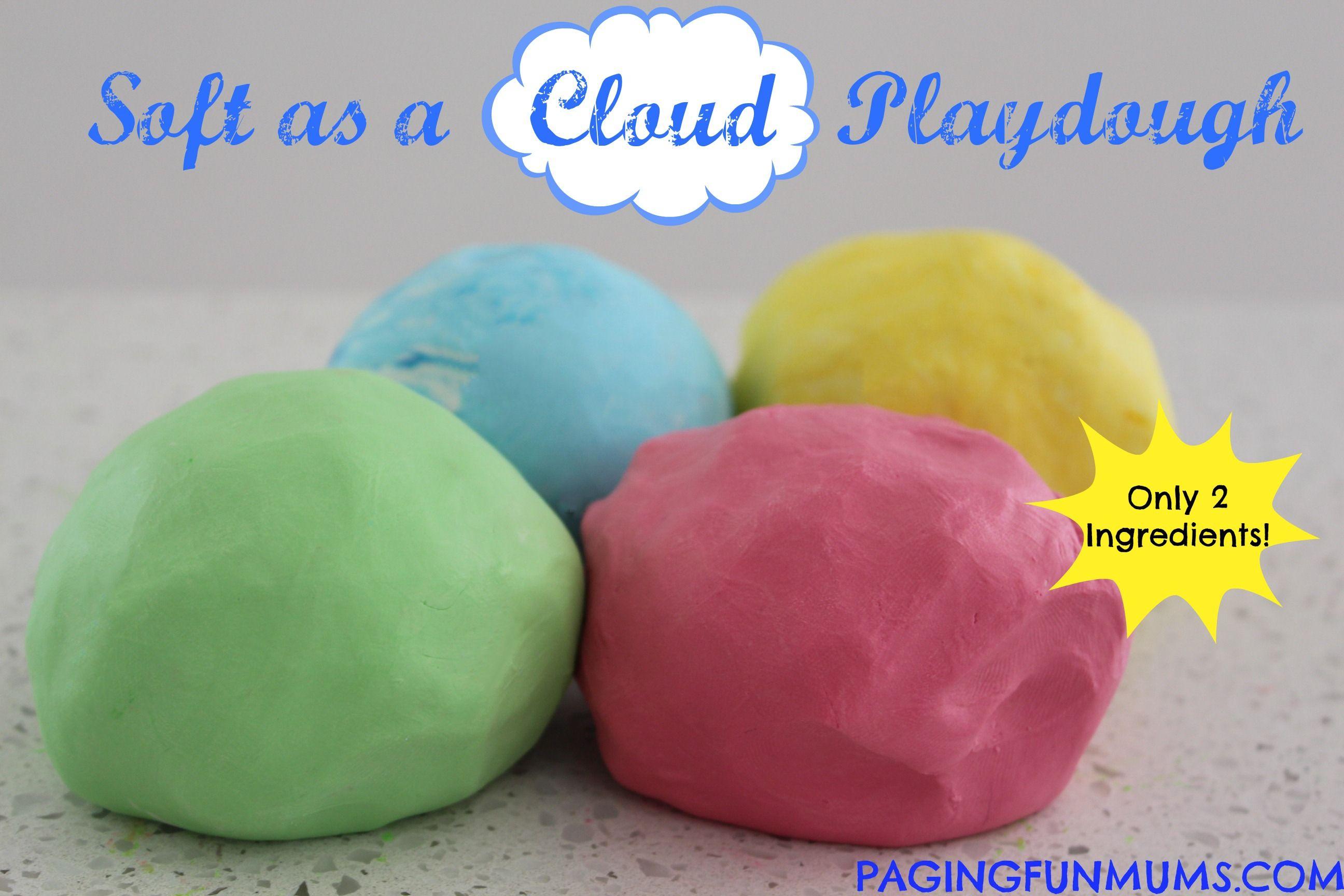 'Soft as a Cloud' Playdough…using only 2 ingredients!  Tässä käytetään hiusten hoitoainetta!
