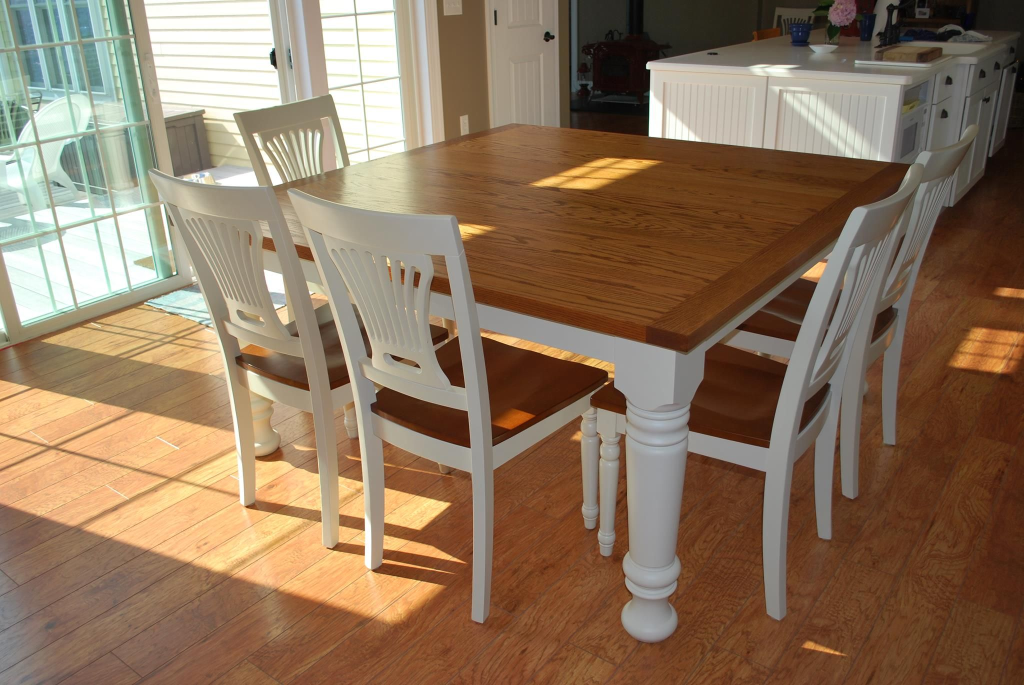 Furniture Easy Diy Modern Square Farmhouse Dining Table With Oak Top And Wooden Base Painted White Color For 8 Chairs Beside Gl Sliding Door Ideas