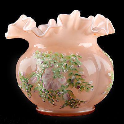 Fenton Charleton Rose Silver Crest Melon Vase 1940s Awco Hand