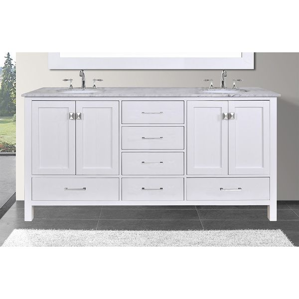 60-inch Malibu Pure White Double Sink Bathroom Vanity with Carrara