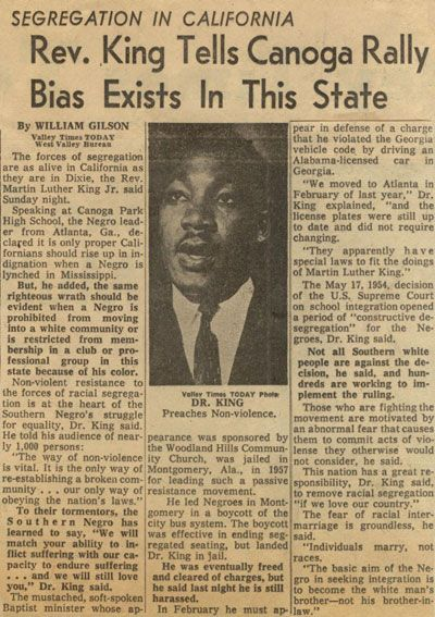 An Article On Martin Luther King Jr S Visit To The San Fernando Valley In The Old Valley Times Newspaper Canoga San Fernando Valley Valley