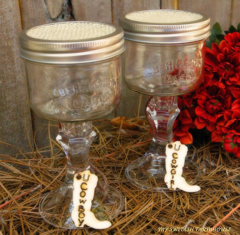 Mason Jar Wine Glasses Cowboy Cowgirl Or Heart Charms Rustic