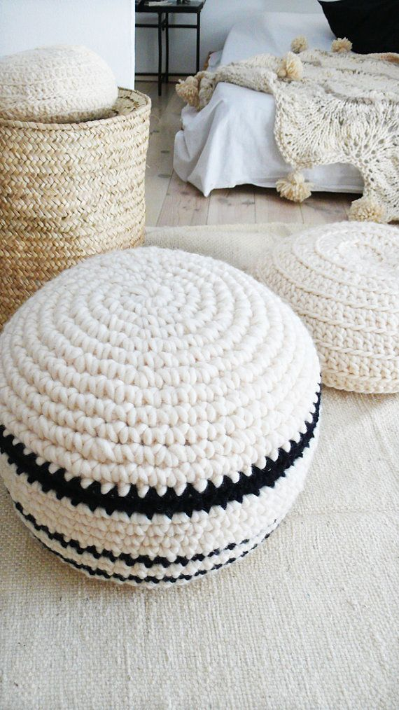 Crochet pouf thick wool - Natural undyed and stripes black | Make ...