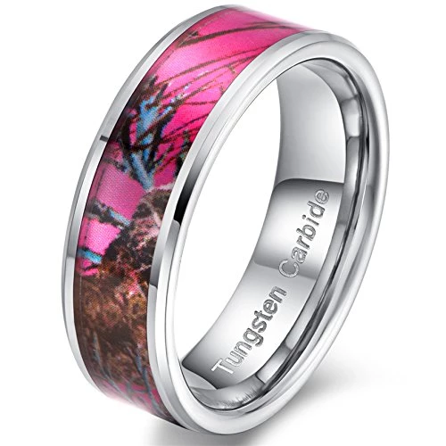 Women 8mm Tungsten Carbide Ring Pink Camouflage Hunting