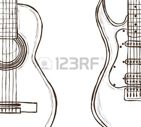 Ilustracion De La Guitarra Acustica Y Electrica Dibujado A Mano De Estilo Dibujo Guitarra Electrica Guitarras Dibujos De Guitarras