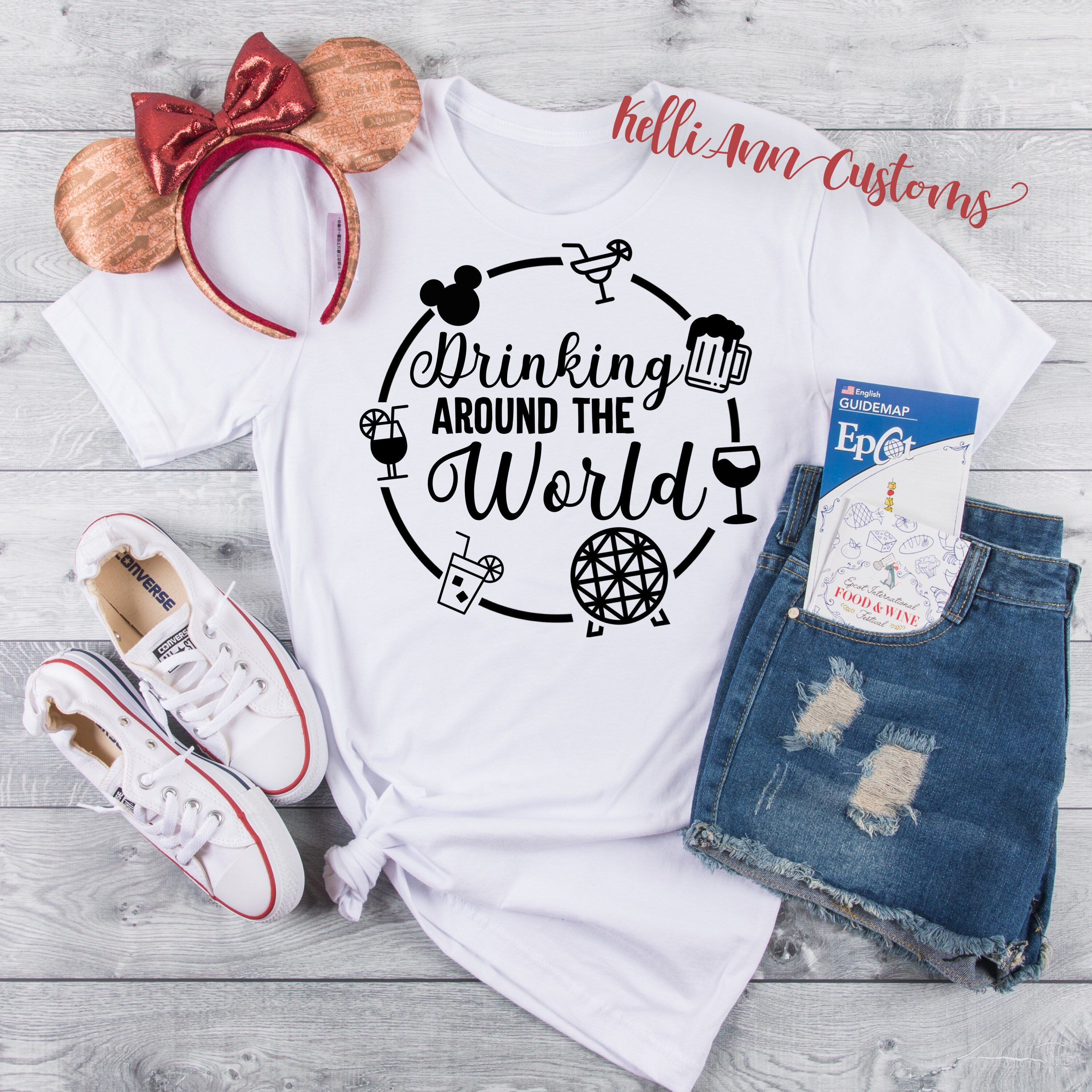 Food and Wine Conquering The World Disney Trip. Drinking Around The World Vacation Shirts Epcot Shirt Disney Drinking Shirt