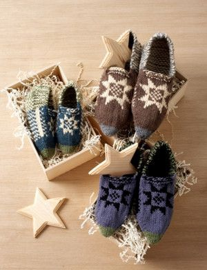 Traditional Fair Isle Slippers - includes instructions for knitting these slippers in a child size, lady size, or man size.