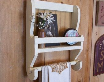 Shabby Chic 4 Slat Towel Rack Kitchen Bathroom Laundry By