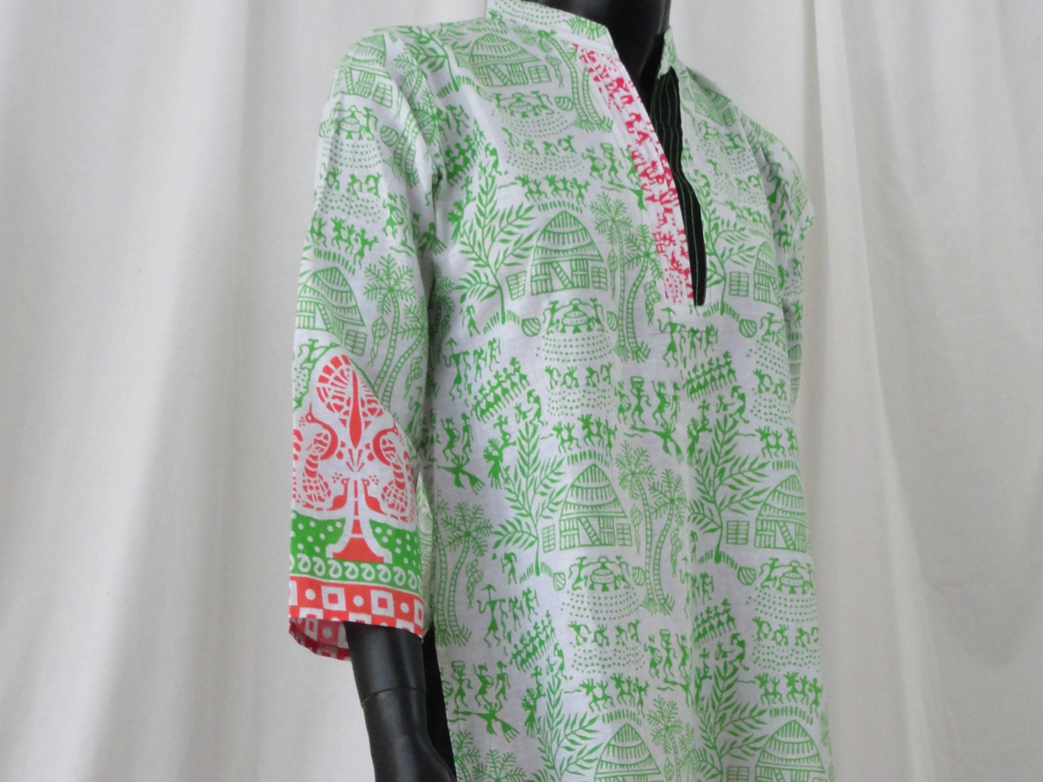 White yoga tunic or top soft cotton long dress top with cave art