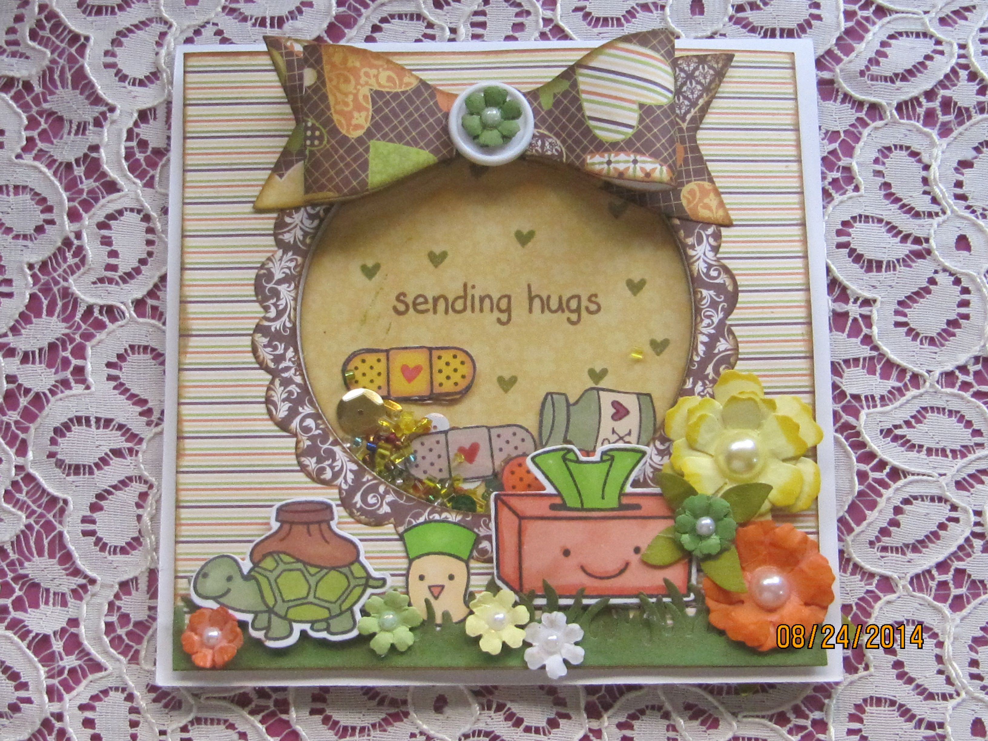 6x6 Get Well Shaker Card using Diemond Dies and Lawn Fawn stamps.