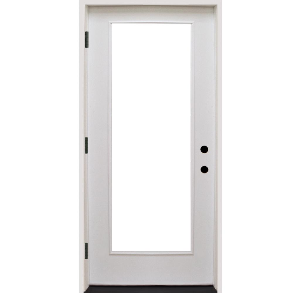 Steves Sons 24 In X 80 In Premium Full Lite White Primed Fiberglass Prehung Front Door Fgfl Pr 24 4ri The Home Depot Front Door Steel Front Door Door Hangers Diy