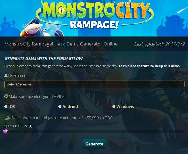 Monstrocity Rampage Hack Gems Generation Hack Online Rampage