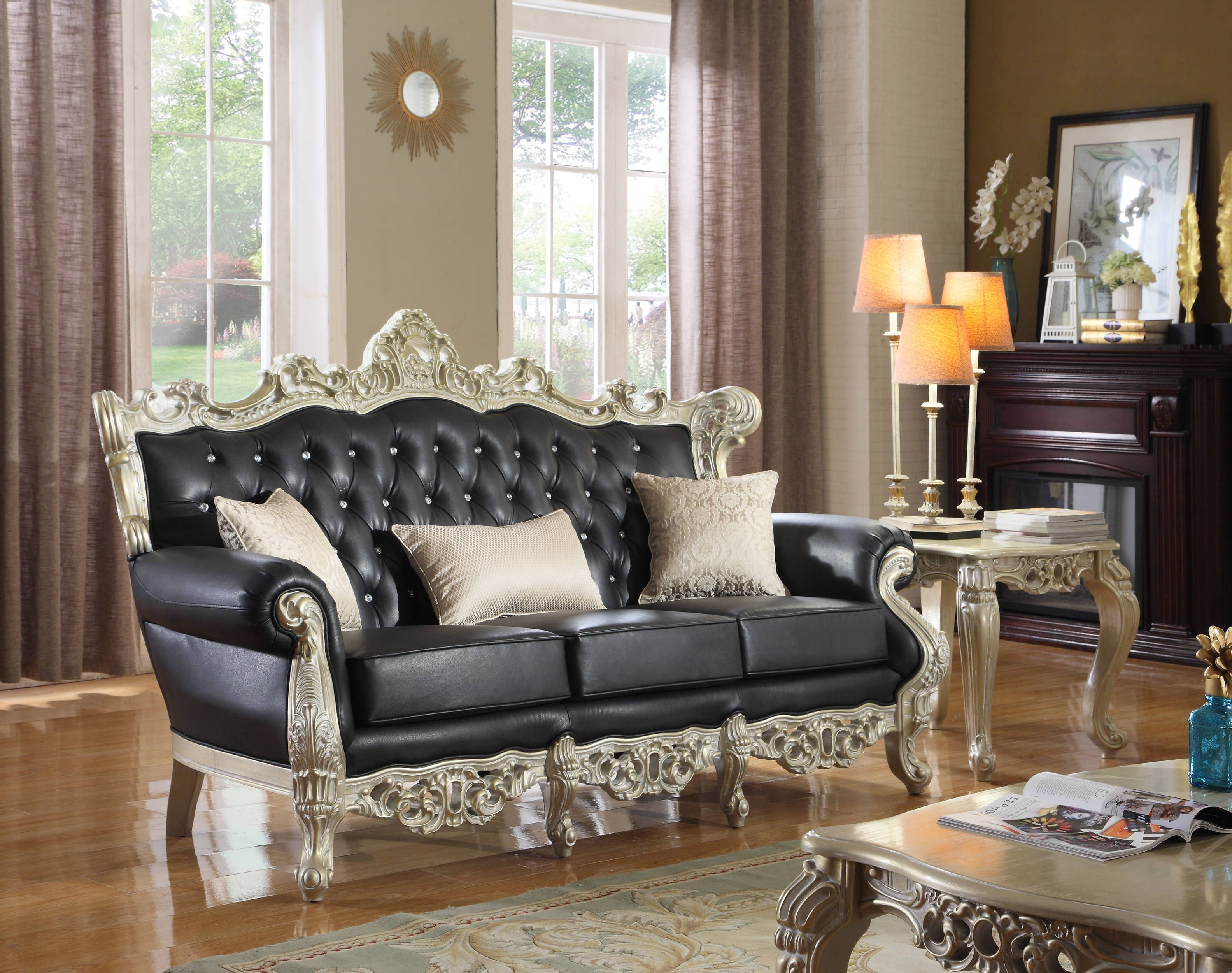 Cesar Black Bonded Leather Silver Finish Crystal Tufting