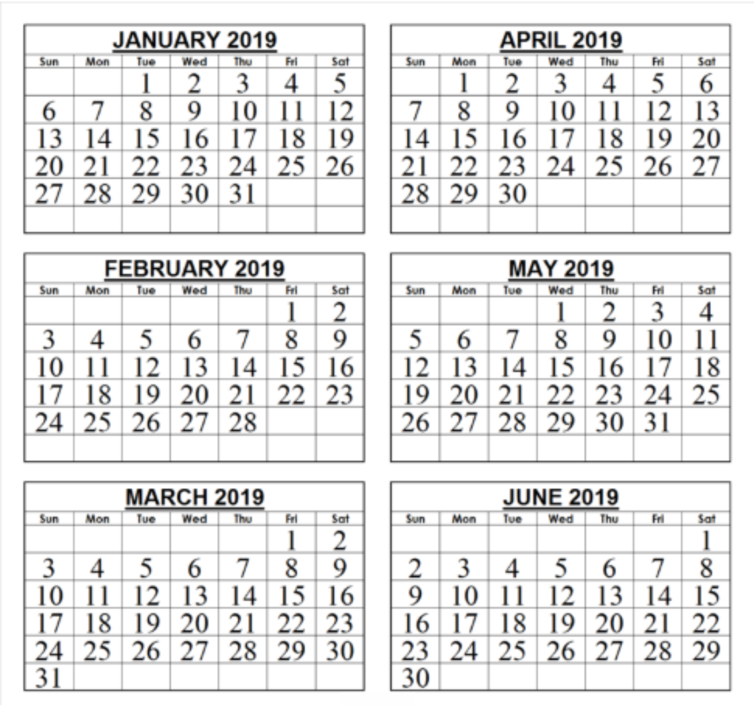 Calendar January February March April May 2019 Blank January February March April Calendar 2019   Monthly