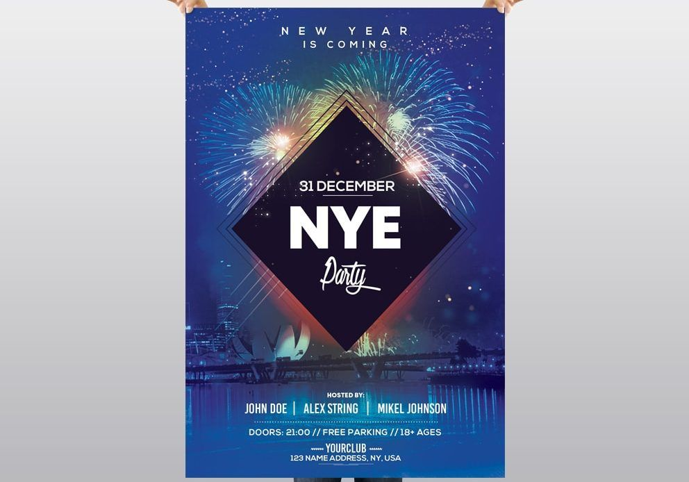 2020 NYE Party Free New Year PSD Flyer Nye party, Psd
