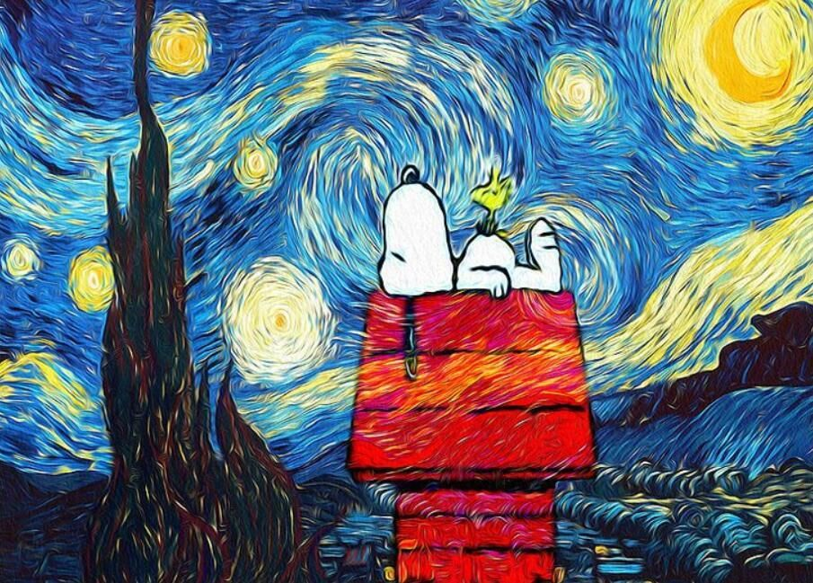 DIY Painting By Numbers Snoopy Under Starry Night (16