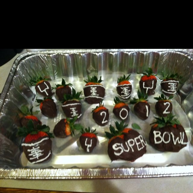 My chocolate covered strawberries for super bowl!