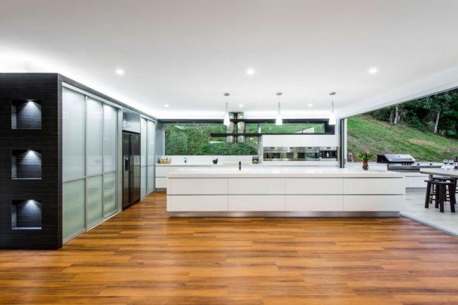 Designer Küche Mit Kochinsel Weiß Corian Mineralwerkstoff