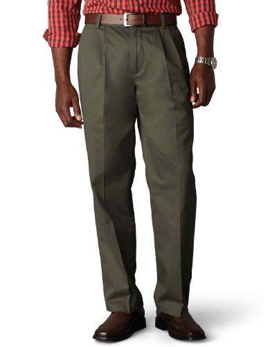 Dockers Men/'s Signature Pleated Classic Fit Pants Navy 44x32