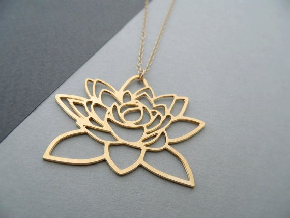 Golden lotus flower necklace lotus pendant by bonnyrabbitboutique golden lotus flower necklace lotus pendant by bonnyrabbitboutique mozeypictures Image collections