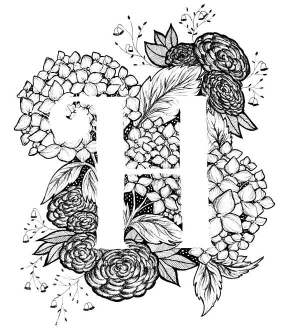 Letter H Print Alphabet Calligraphy Typography Monogram