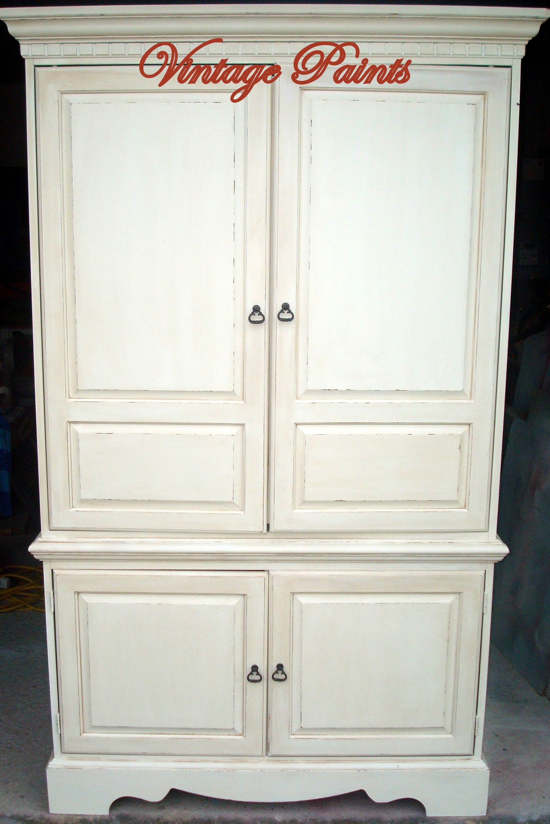 Cameo White by #Benjamin Moore, glazed and distressed cabinet. Old ...