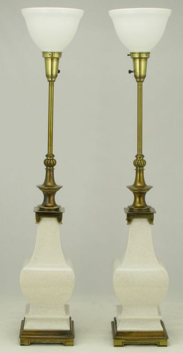 Vintage stiffel brass table lamps - Pair Stiffel White Crackle Glazed Ceramic Brass Table Lamps