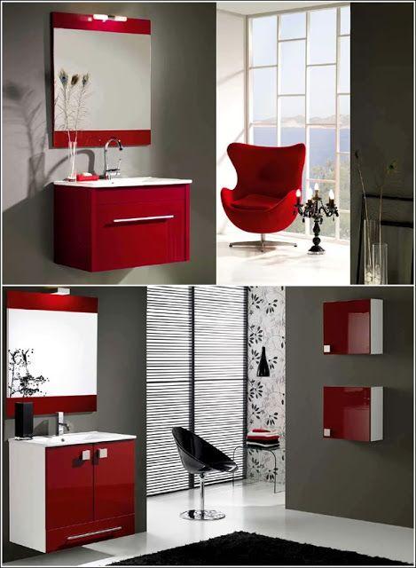 Inspiration de décor en rouge vif, gris et le blanc ...