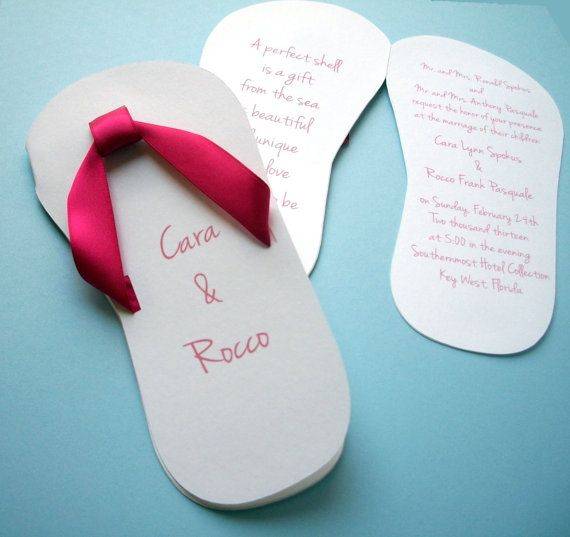 Flip Flop Wedding Invitation Wedding flip flops Weddings and Wedding