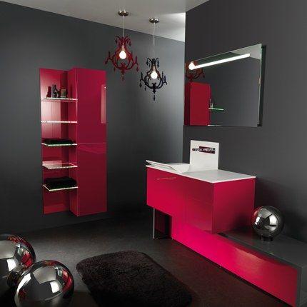 Carrelage salle de bain gris et rouge | Salle de bain grise ...