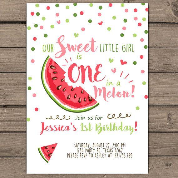 watermelon birthday invitation one in a melon by anietillustration, Birthday invitations