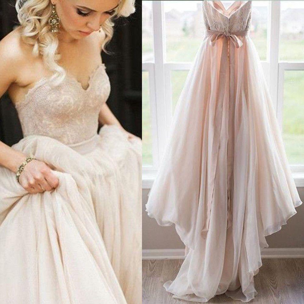 Strapless appliques boho beach wedding dresses lace aline bridal