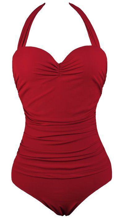 05466ded2611 Shenices Retro Vintage Sweetheart One-Piece Monokinis Swimsuit Red US8