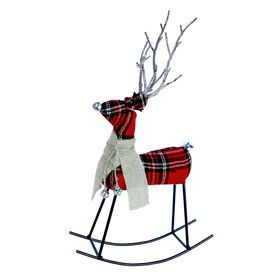 Picture of Rocking Plaid Deer Decor-Red- 14-in