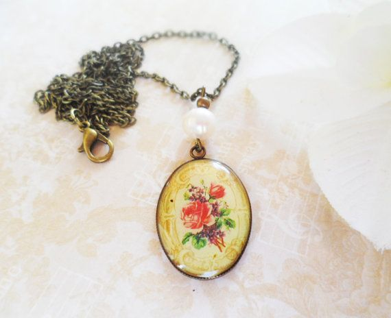 Brass necklace with a flower pendant and a by SelmaDreams on Etsy