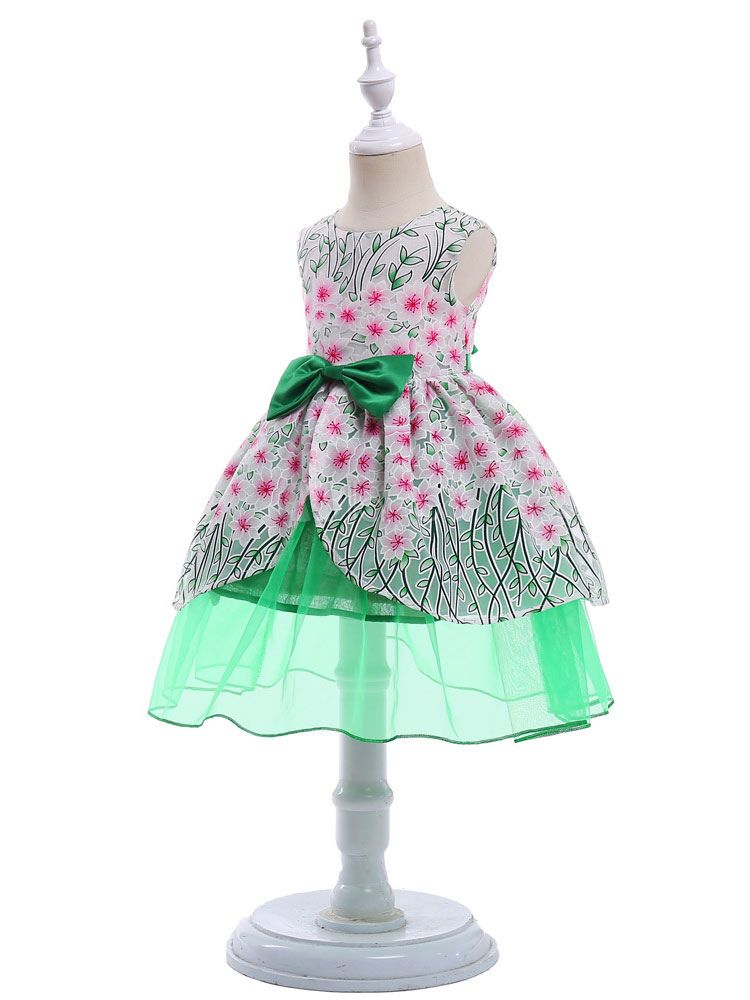 4ba013598a68 Flower Girl Dresses Mint Green Floral Printed Bows Sleeveless Kids Party  Dresses  Mint