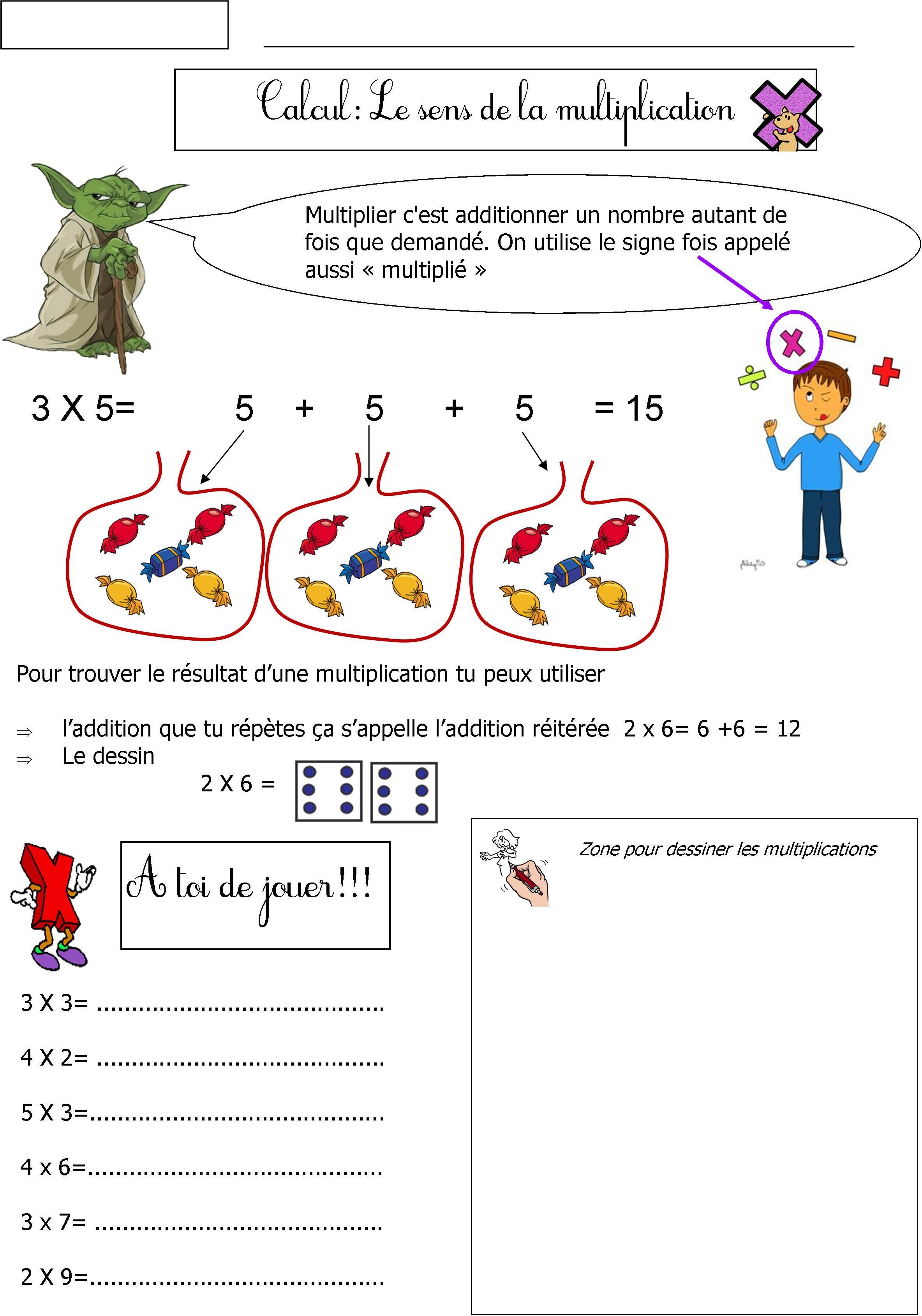 Sens de la multiplication ce1 pinterest for Apprendre la multiplication ce1