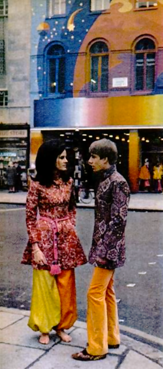 Fashion from Apple Boutique, Baker Street. Photograph by Terence Spencer-February,1968.