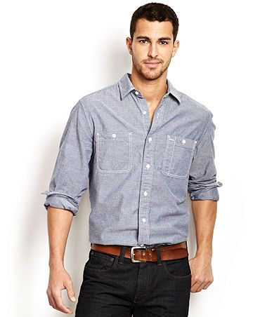Upscale casual men's style. Dark denim, light shirt and a belt ...