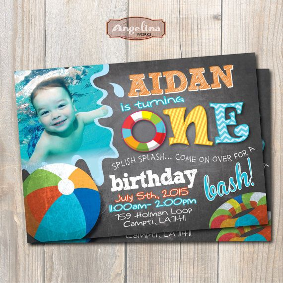 Pool Party Birthday Invitation First Birthday Chalkboard DIY - Digital first birthday invitation