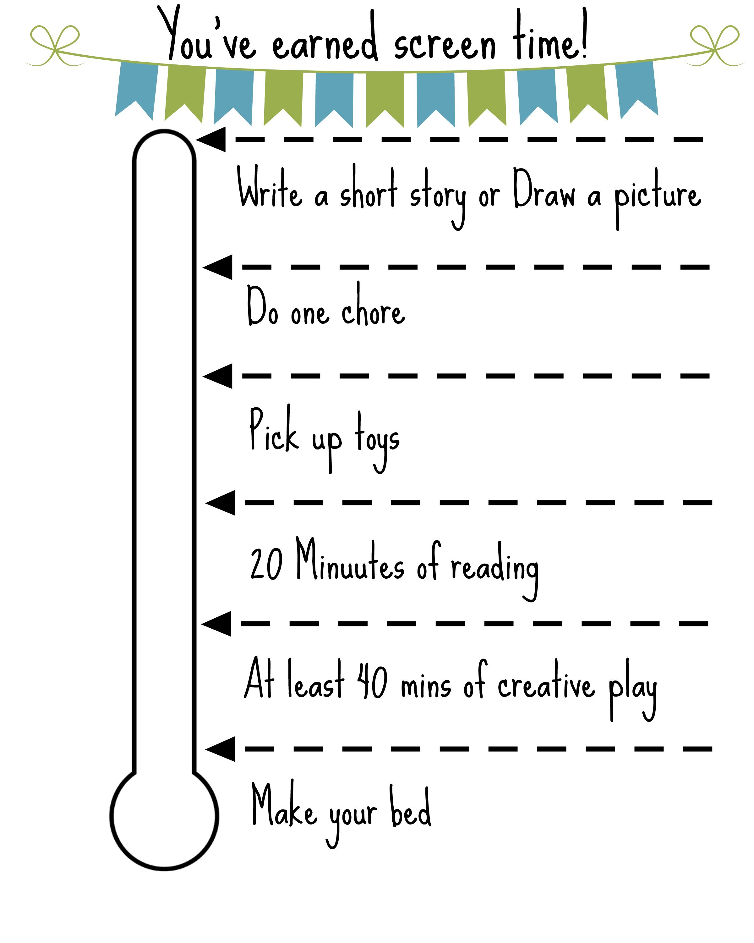 Free Printable Screen Time Chart  Free Printable Screens And Free