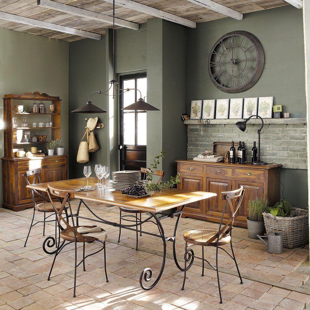 table manger en sheesham et fer forg 8 personnes l180. Black Bedroom Furniture Sets. Home Design Ideas