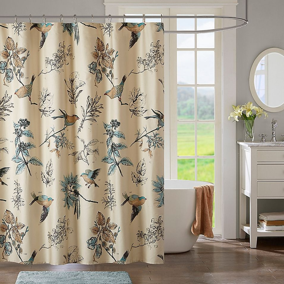 Madison Park Quincy Shower Curtain In Khaki Curtains Shower