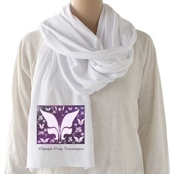Purple Butterfly Floral Chronic Pain Awareness Sheer Jersey Scarf