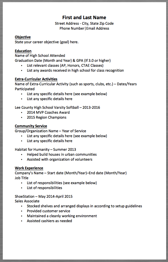 basic resume template first and last name street address