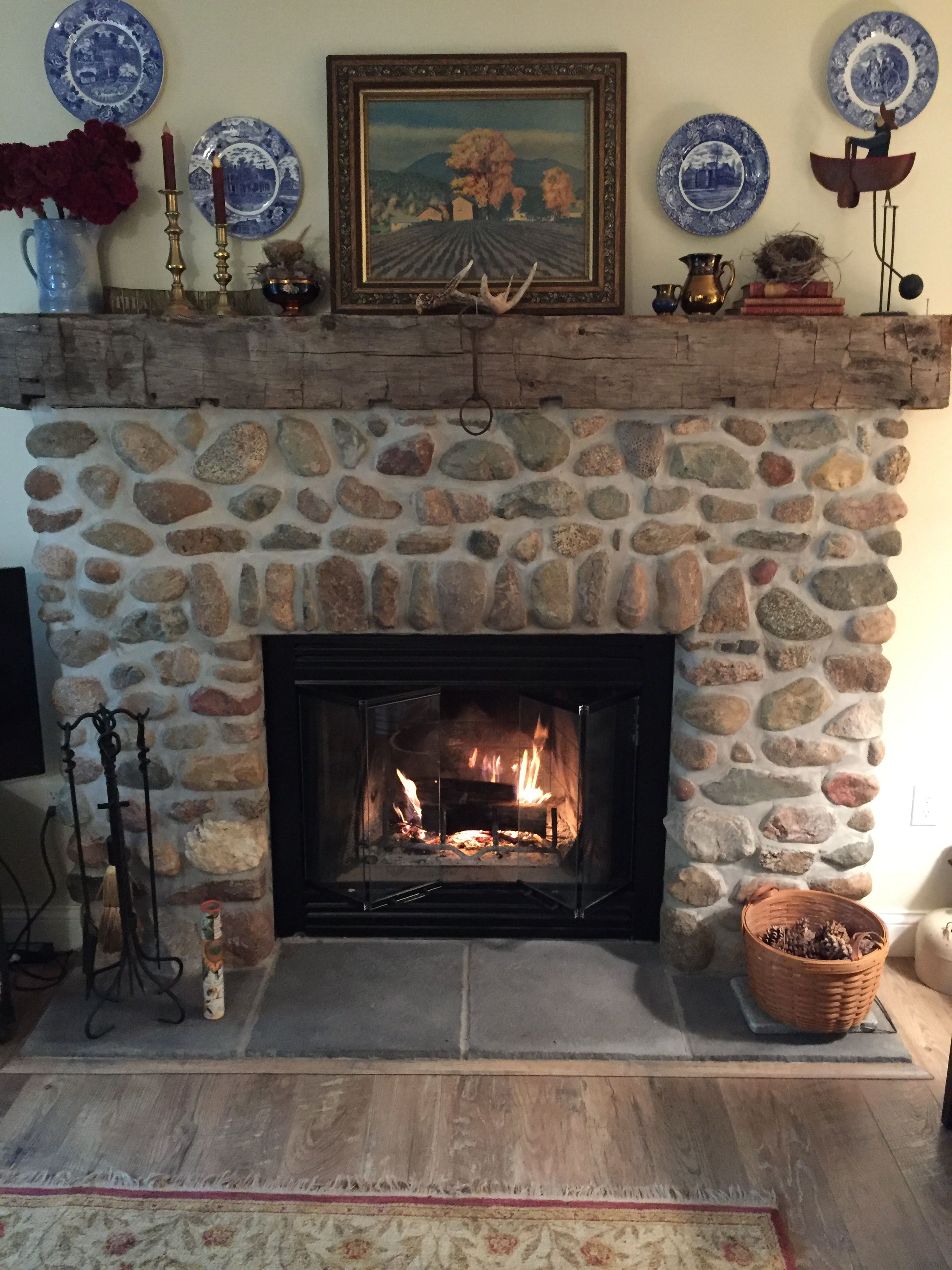 Fieldstone Fireplace With A Hand Hewn Beam For A Mantle The Stones